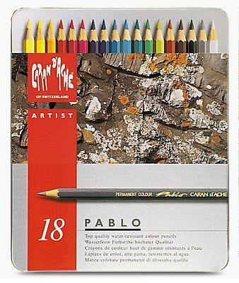 Caran Dache Pablo Colour Pencils Water Resistant Sketching Metal Tin Set Of 18