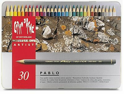 Caran Dache Pablo Colour Pencils Water Resistant Sketching Metal Tin Set Of 30