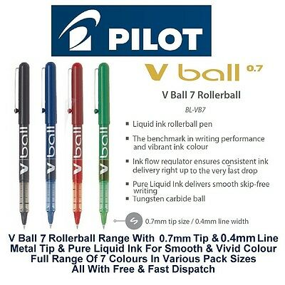 Pilot V Ball 7 Fine Rollerball Pen Pens 0.7mm Metal Nib 0.4mm Line Liquid Ink