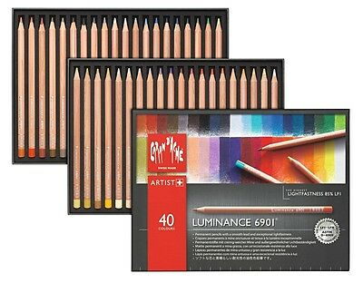 Caran Dache Luminance 6901 Professional Permanent Colour Pencils (40 Colour Set)