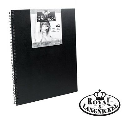 A3 Royal & Langnickel Spiral Sketchbook Sketchpad Black Hardback Cartridge 90gsm