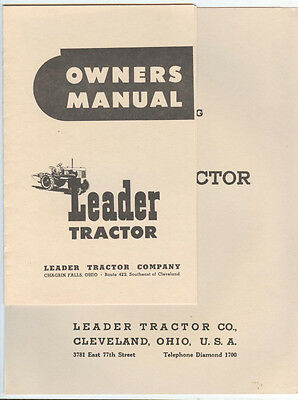 Leader Tractor Owners Manual  and Parts Catalog Chargin Falls Ohio