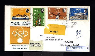 10588-ETHIOPIA-AIRMAIL REGIST.FDC.COVER ADDIS ABA.to CAGLIARI(italy)1964.Olympic