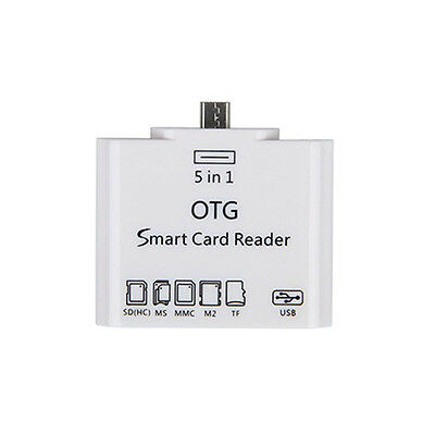 MS/SD (HC)/MMC/M2/TF 5 in 1 OTG Micro USB Card Reader Connection To Smartphone