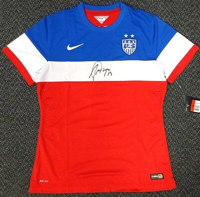 Team Usa Alex Morgan Autographed Signed Red Nike Jersey Size L Psa/dna