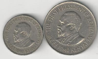 2 DIFFERENT COINS from KENYA - 50 CENTS & 1 SHILLING (BOTH DATING 1975)