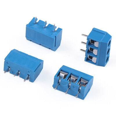 50PC 3 way 3 Pin Plug-in Screw Terminal Block Connector Pitch Panel PCB Mount