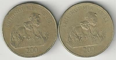 2 DIFFERENT 200 SHILINGI COINS w/ LION from TANZANIA DATING 1998 & 2008