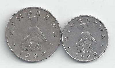 2 DIFFERENT COINS from ZIMBABWE - 5 & 10 CENTS (BOTH 1980)..5 CENT w/ RABBIT