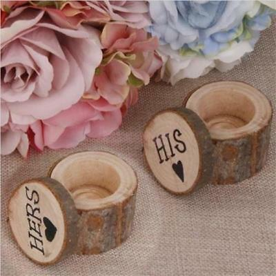 2pcs Personalised Hers&His Shabby Chic Rustic Wedding Ring Bearer Box Wodden S
