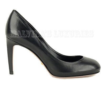 de0fb1576516  635 GUCCI SHOES MID HEEL BLACK LEATHER ROUNDED TOELINE PUMP size 35.5 US  5.5