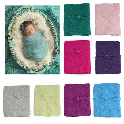 Newborn Baby Girl Stretch Crochet Knit Wrap Cloth Photo Photography Prop Blanket