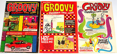 GROOVY #1-3 Full Set! Cartoon Comics! Marvel Silver-Age 1968 not approved by CCA
