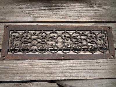 Antique Victorian Fancy Filigreed  Rectangular Heater Vent Grate or Cover c1895