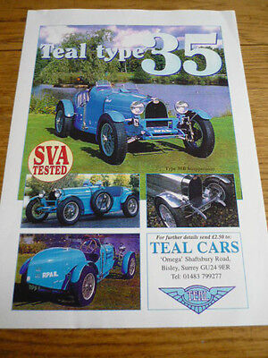 Teal Cars Type 35 And 35 Bugatti Replica Kit Car Sales 'brochure' Sheet + Prices
