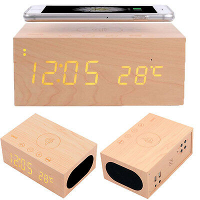 Wood Bluetooth NFC Stereo Speaker LED Snooze Alarm Clock with Wireless Charging