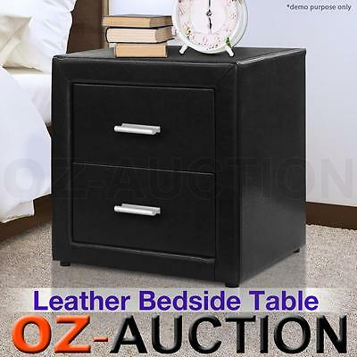 PU Leather Bedside Table With 2 Drawers Nightstand Chest Cabinet Black