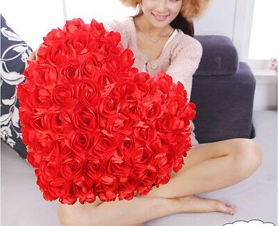 Lovely Red 99 rose heart 30 * 25CM hold Decorative Bed Pillow Valentine's gifts