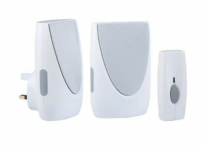 Byron Plug In Wireless Portable Door Bell Chime Kit Twin Pack - 6 Sounds - White