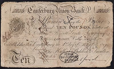 1839 CANTERBURY UNION BANK £10 BANKNOTE * 2026 * VG  * RARE * Outing 415f *