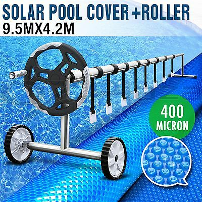 Solar Swimming Pool Cover Blanket Bubble Roller Wheel Adjustable 9.5X4.2M