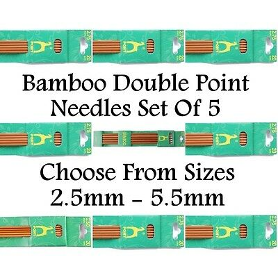 Pony Bamboo 2 Point Sets Of 5 Knitting Needles Pins Length 20cm Width All Sizes