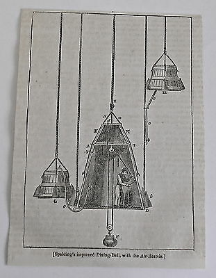 1832 magazine engraving ~ SPALDINGS IMPROVED DIVING-BELL with Air-Barrels