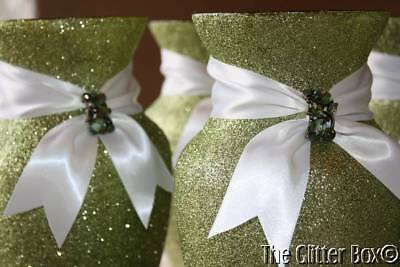 "Glittered Wedding Centerpiece 8"" Vase Olive Green Special Occassion Decor"