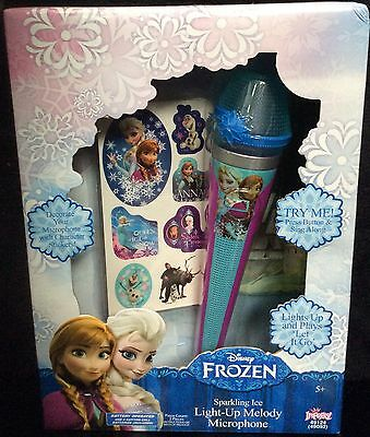 Disney FROZEN Light-Up Music MICROPHONE Anna+Elsa Play LET IT GO Song +STICKERS