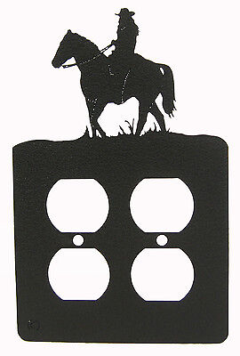 Female Rider Cowgirl Double Outlet Cover Plate Black