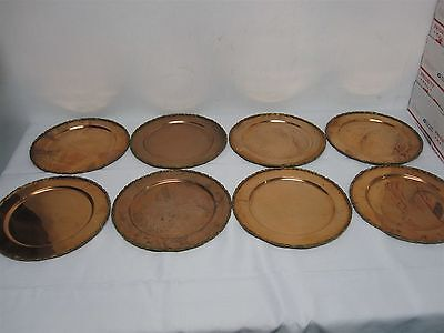 "SET OF 8 VINTAGE 1979 MEXICO COBRE COPPER with BRASS EDGE 11 1/4"" CHARGER PLATES"