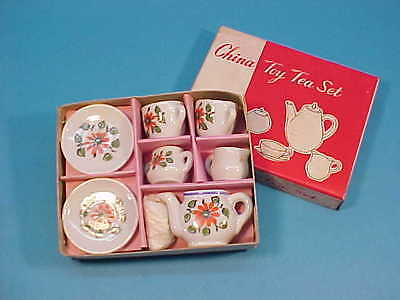 VINTAGE TOY CHINA TEA SET (7 pcs.) * MADE IN JAPAN BOXED NEW OLD STOCK 1960's