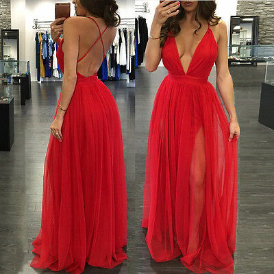 Sexy Long Summer Women's Chiffon Evening Party Formal Bridesmaid Prom Gown Dress