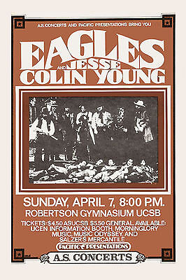 The Eagles & Jesse Colin Young at Santa Barbara Concert Poster 1974