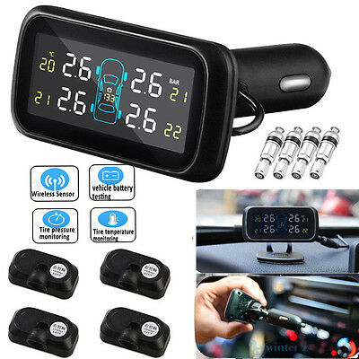 TPMS Tire Tyre Pressure Monitoring System LCD w/ 4 Internal Sensor for Car Auto