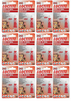 12 x Loctite 243 Lock 'n' Seal Fast Acting Thread Lock and Sealant 3ml