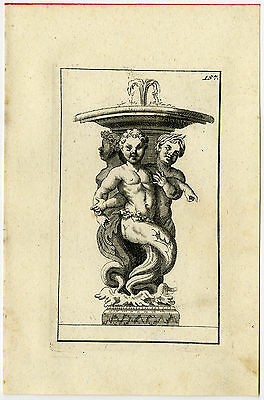 Antique Print-STATUE-CHILDREN-MERMAN-MYTHOLOGY-Thomassin-1695