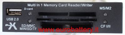 "Lettore memory card 3,5"" interno all in one 1 USB SDHC SD MMC CF XD MS PRO DUO"