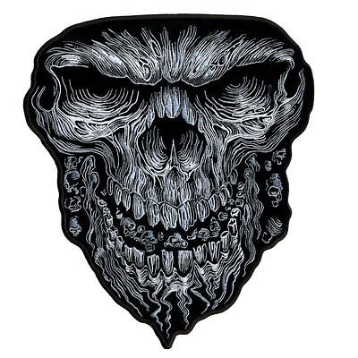 NEW Large Grinning Skull sew on Patch Motorcycle Biker from Fat Skeleton