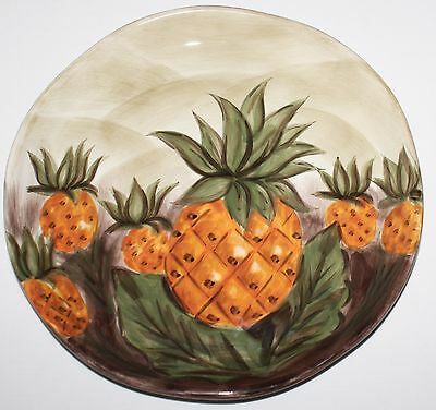 """Tabletops Gallery Bahamas Pineapple Dinner Plate Hand Painted Unlimited 11 1/8"""""""