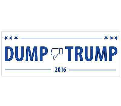 1 Dump Trump 2016 - Anti Donald Trump White Bumper Sticker - FREE SHIP!