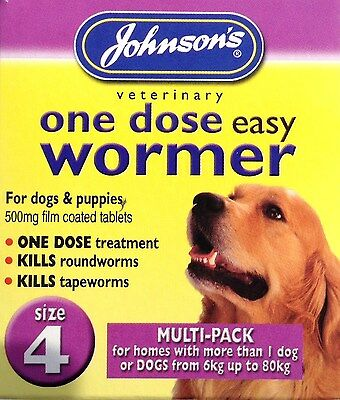 Johnsons DOG WORMER One Dose Treatment Easy Wormer / Worming Tablets Size 4