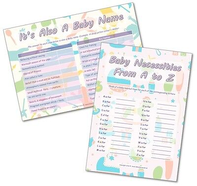 Baby Shower Party Games - 2 GAMES -  ITS A BABY NAME / BABY A to Z  - 20 players
