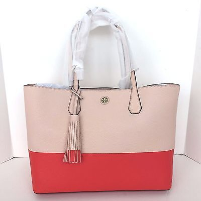 494a1a8d640d  450 Tory Burch Color Block Perry Leather Tote Bag Pale Apricot Poppy Red