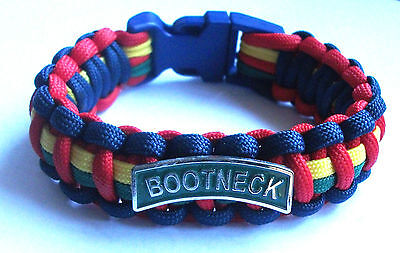 Royal Marines Bootneck Paracord Wristband With Badges