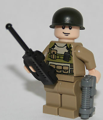 1 AMERICAN soldier WW2 OFFICER lego custom figure colonel hardy from 76003 body