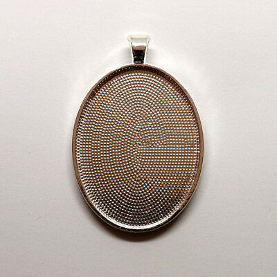 10 x OVAL 40x30mm SILVER Pendant setting tray bezel for resin  cabochon cameo