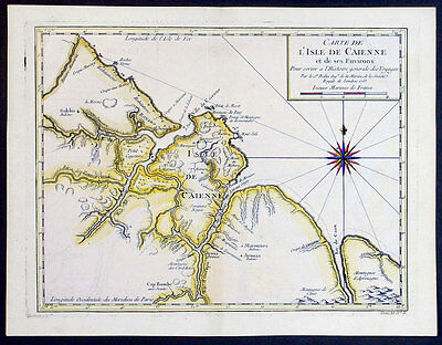 1753 Bellin Antique Map of the Cayenne Region of Guyana, South America