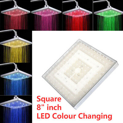 """Battery-Less Chrome Square Roun 8"""" inch LED Colour Changing Shower Head Bathroom"""