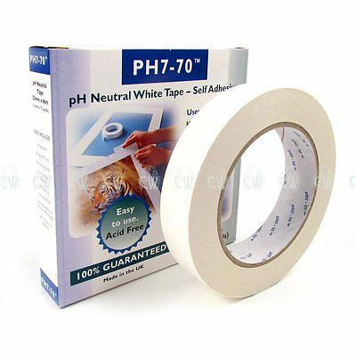 PH770 Archival White Acid Free Paper Tape 25mm x 66m. Artists Framing Tape.